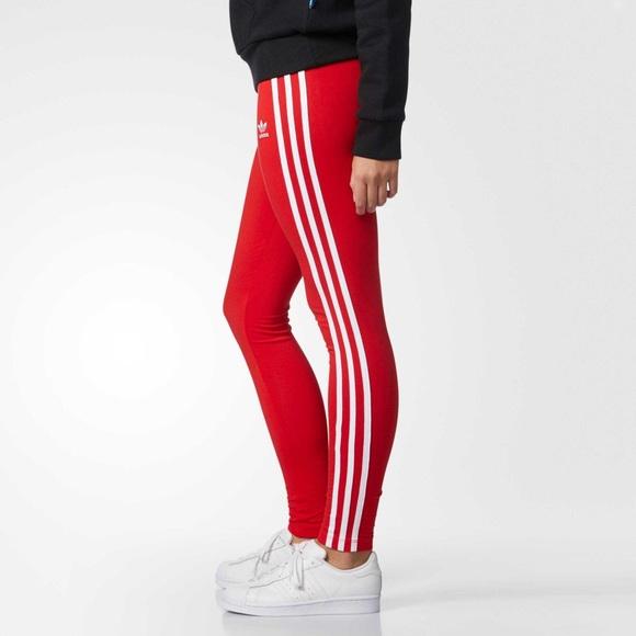ac1b127e87a9b adidas Pants   3 Stripe Red Leggings   Poshmark